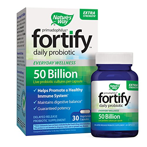 Nature's Way Primadophilus Fortify Daily Probiotic, Extra Strength, 50 Billion Active Cultures, Guaranteed Potency, Delayed Release, 30 Vegetarian Capsules, Gluten-Free