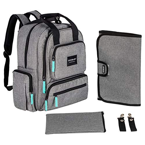 YavoBaby Diaper Bag Backpack - Large Capacity 18 Pocket Multi-Functional Unisex Diaper Bag - Extremely Durable and Stylish - Includes Changing Pad, Stroller Straps, and Nursing Pouch -Gray w/Teal Tags