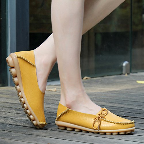 Loafers fereshte Driving Shoes Casual Women's Leather 1 Yellow Flats Moccasins 46xwUY6Orq