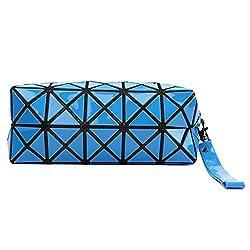 Fashion Geometric Design TPU Leather Cosmetic Bags Clutch Bag - Blue