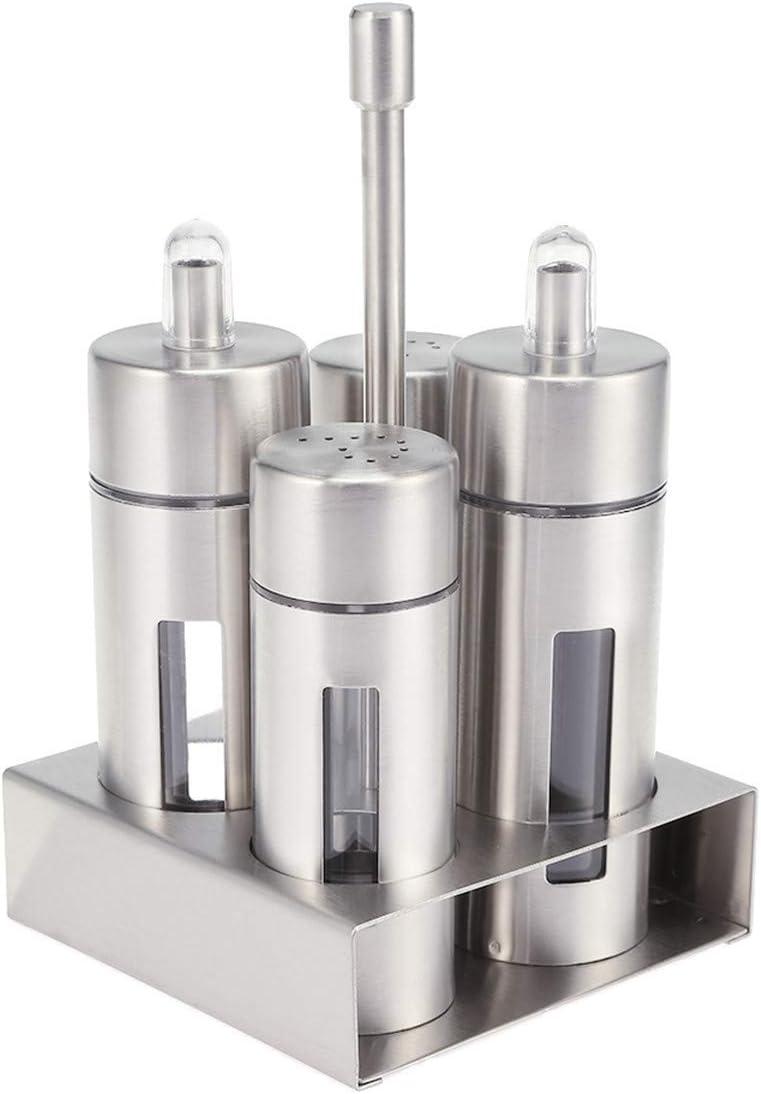 Set sale e pepe macinaspezie in acciaio inox di alta qualit/à con fondo in vetro argento mini spargisale 4 pollici di altezza
