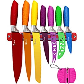 Chefcoo Kitchen Knife Set Plus Magnetic Strip and Sharpener One Cutlery Knives-Best Color Cooking Gadgets-Includes Cheese, Pizza, Paring, 14.5 x 10.9 x 1.5 inches Red, Yellow, Blue, Green, Pink 10 INCLUDES KITCHEN KNIFES, SHARPENER, MAGNETIC KNIFE HOLDER SET - This 9-piece set consists of Paring Knife, Utility Knife, Carving Knife, Chef's Knife, Bread Knife, Cheese Knife, Pizza Knife, Professional Knife Sharpener and a Magnetic Knife Holder. NON-SLIPPERY GRIPPY HANDLE FITS PERFECTLY INTO THE CURVE OF YOUR HAND - Easy to clean and dishwasher safe. The ergonomically designed hollowed Polypropylene (PP) Hygiene and antibacterial, CE/EU,FDA,SGS certification. TWO SHARPENING MODES AND KNIFE HOLDER FEATURES - There are two sharpening modes - a coarse sharpener for blunt knives to be used every 6 months or so and a fine sharpener for regular use and maintenance. Have your knives stylish displayed.