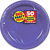 Big Party Dessert Plates, 50 Pieces, Made from Plastic, Celebration, 7 Inches by Amscan
