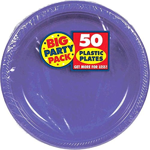 Big Party Dessert Plates, 50 Pieces, Made from Plastic, Celebration, 7 Inches by Amscan by Amscan