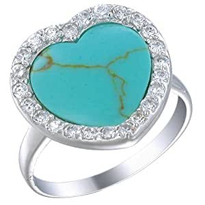 Silver Imitated Blue Turquoise Ring (15 MM Heart Shaped) Size 5