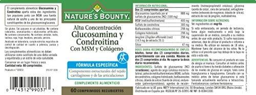 Natures Bounty Glucosamina y Condroitina con Msm y Colágeno - 60 Comprimidos