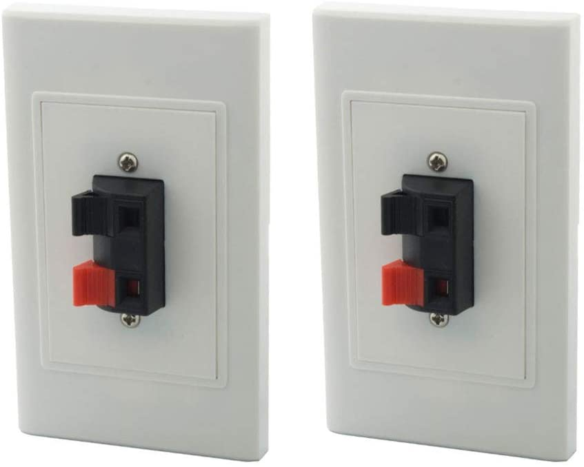 MOAVEQ Speaker Wall Plates with Terminal Block for Stereo Home Theater (2Pack, 2 Terminal)