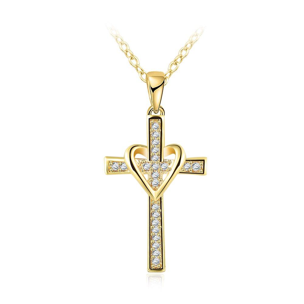 jiux Men Womens Classic Simple 18k Gold Love Cross Necklace Pendant Birthday Gift for Girl