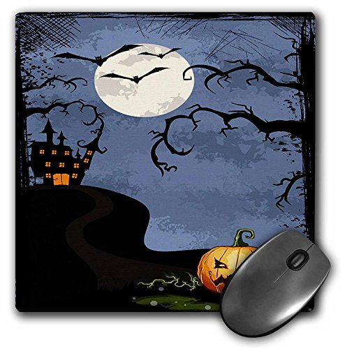 3dRose Anne Marie Baugh Halloween - Halloween Haunted House With Moon, Tree, and Pumpking - MousePad (mp_65453_1) ()
