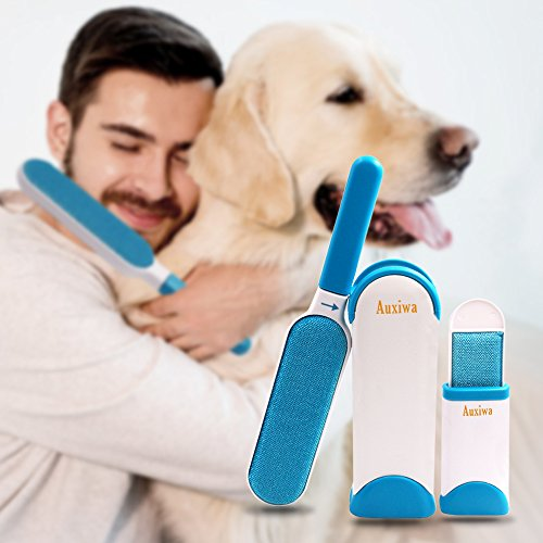 Auxiwa Pet Fur & Lint Remover with Self-Cleaning Brush for Dog Cat Pets Removes Hair from Clothes & Furniture Travel Size