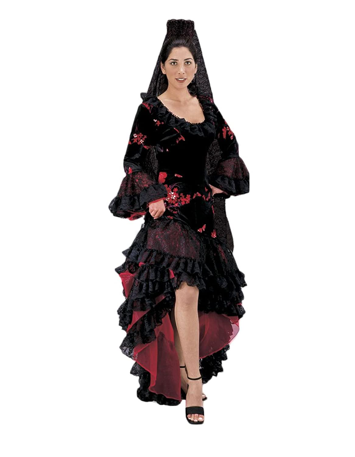 Amazon.com: Women's Black Spanish Flamenco Dancer Costume Dress ...