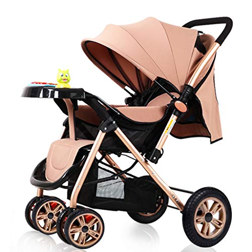 $201.80 Target Infant Car Seats Stroller Baby Umbrella Stroller with Safe Five-Point Harness and Brake, Adjustable Backrest Bassinet Pushchair Infant Pram with Foldable Anti-Shock High View Carriage (Color : Beige) 2019