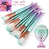 Mermaid Makeup Brushes Set,Scofieldly 11pcs Mermaid Makeup Brush Set Soft Nylon Bristles Beauty Brushes Kit Foundation Blending Blush Concealer Cosmetic Tools - Green Gradient