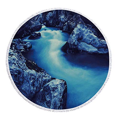 (YOLIYANA Waterfall Decor Avirulent and Tasteless Round Beach Towel,Frozen Dangerous Lake with Atmosphere of a Cave and Snow on The Rocks for Poolside Lounging or Wall Hanging,59.1