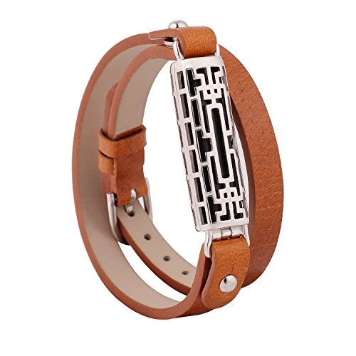 GHIJKL Compatible Fitbit Flex 2 Bands, Metal and Genuine Leather Wristband Replacement for Fitbit Flex 2, Flex2 Strap Style (Silver Color Metal/Brown Leather)