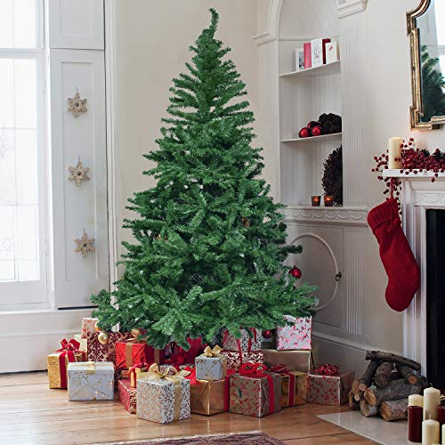 Herron Christmas 7.5' Artificial Premium Spruce Hinged Xmas Tree Metal Stand Indoors&Outdoors, 7.5ft