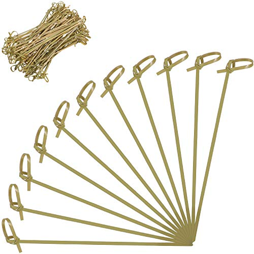 200 Pieces 6 Inch Bamboo Knot Cocktail Picks Disposable Biodegradable Skewers Picks for Food and