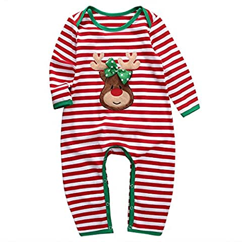 Baby Boys Girls Christmas Long Sleeve Red White Striped Reindeer Romper (90(12-18M), A)