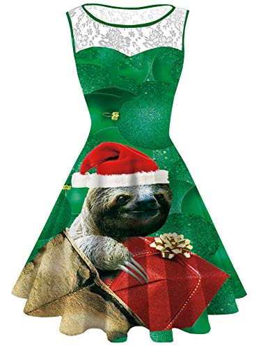 Womens Santa Sloth Print Lace Round Neck Sleeveless Swing Party Dresses -