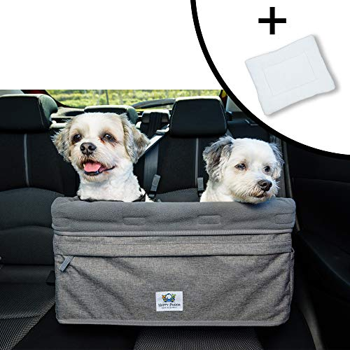 """Boosta Pooch Dog car seat Large Size, Double or Single, Suitable for one or Two Dogs Weighing up to 30lbs or 14 kgs. Choice of Three Colours. 19"""" L x 14"""" W x 10"""" H. (Grey)"""