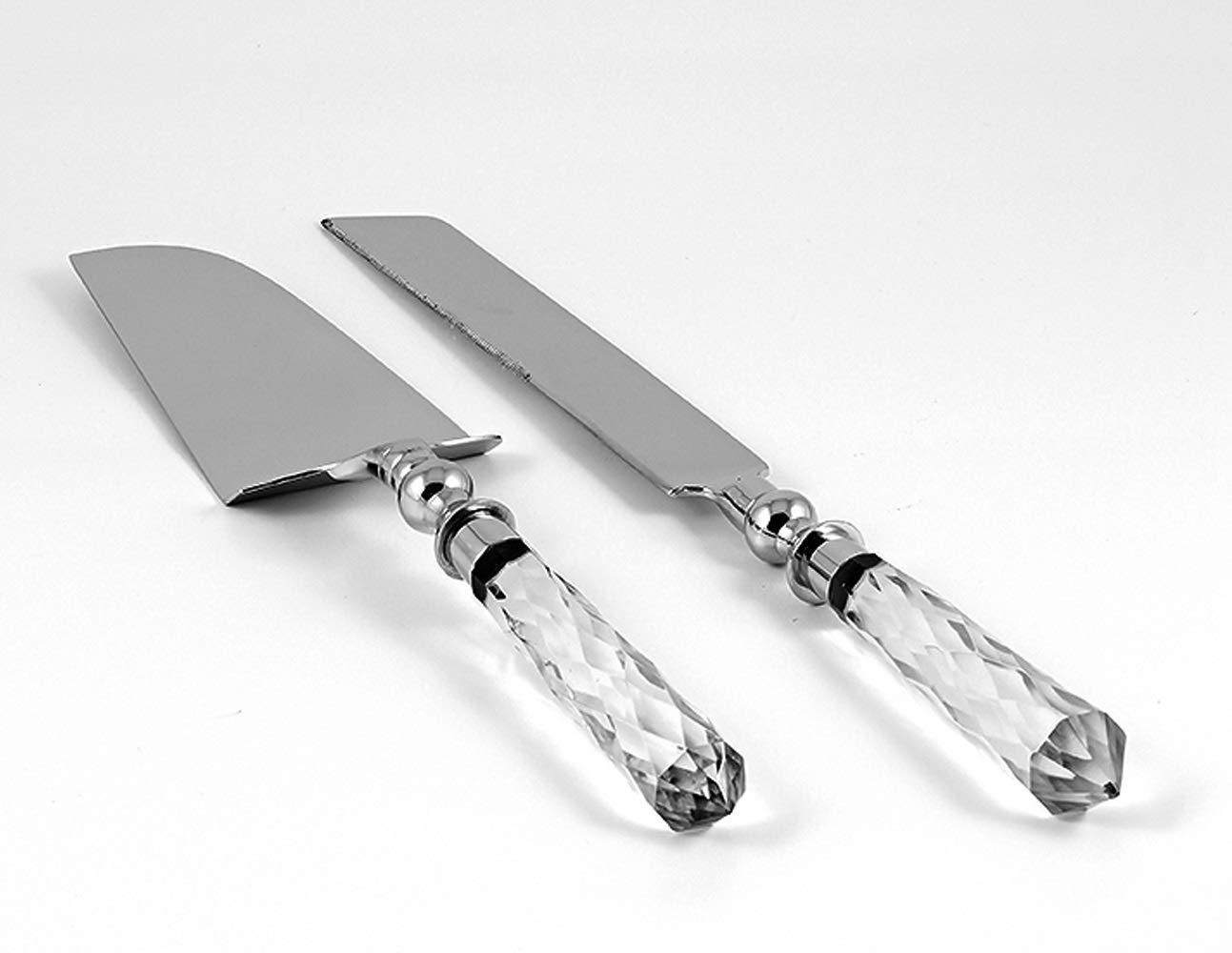 Wedding Cake Knife and Server Set - Cake Cutter with Knife - Cutting Utensils - For Bride and Groom - with Crystal Handles - Knife 13.25'' Long - Server 12'' Long - by Barski - Gift Boxed by Barski