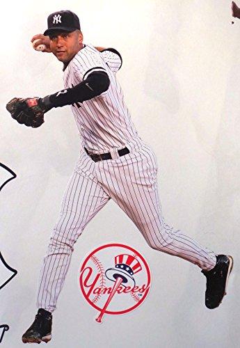 Derek Jeter Mini FATHEAD + New York Yankees Logo Official MLB Vinyl Wall Graphics 9