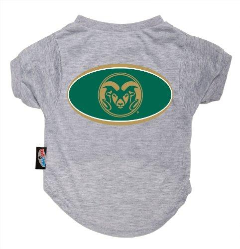 Dog Zone NCAA Pet T-Shirt, XX-Small, Gray, Colorado State University