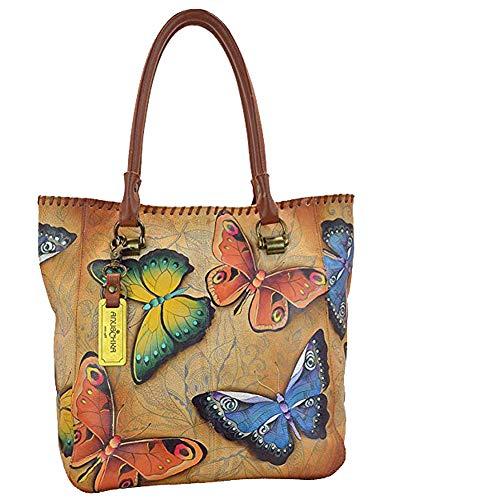Anuschka Large Shopper- Hand Painted Real Leather -Tote Handbag, Purse Tag & Foldable Holder (Flamboyant Flamingo) - Double Entry Shopper