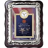 Fire Academy Graduation Gift for Fireman Firefighter - Personalized Congratulation Fire Fighter School Graduate Student Poetry Clock Plaque Chrome Silver Decor Border - Item FR20-FIR