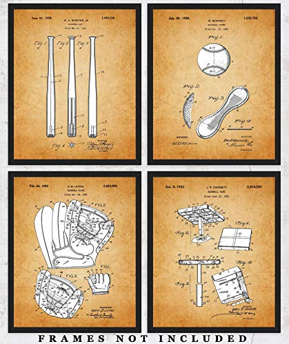- Vintage Baseball Patent Wall Art Prints: Set of 4 Unframed 8x10 Posters Unique Room Decor Photos for Home, Office, Gym, College Dorm & Man Cave - Great Gift Under $20 for Boys, Men, Coach & Sport Fans