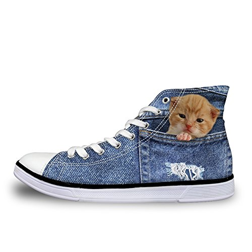 Coloranimal Women Fashion Sneakers Cute 3D Cat Printed High Top Canvas Flat Shoes Us5