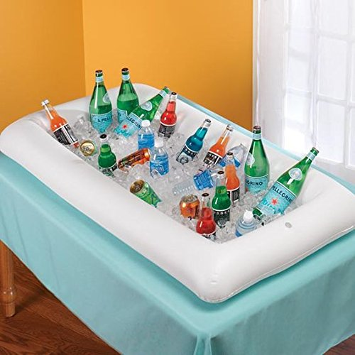 2 PCS Inflatable Serving/Salad Bar Tray Food Drink Holder -- BBQ Picnic Pool Party Buffet Luau Cooler,with a drain plug by Moon Boat (Image #4)