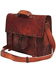 Handolederco 15 vintage leather briefcase shoulder messenger laptop bag for men and womens