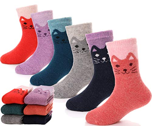 Children Wool Socks For Boy Girl Kids Toddler Thick Thermal Warm Cotton Winter Crew Socks 6 Pack (Cat, 1-3 ()