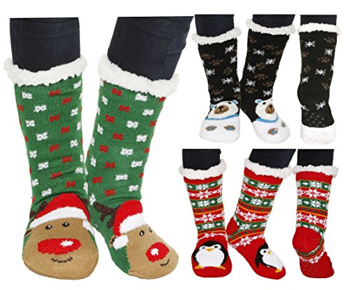 Winter-Weight Thermal Fleece-Lined Cozy Christmas Holiday Sherpa Lined Slipper Socks, 3 Pair Pack (Christmas 2) (Plus Lined Stockings Size)