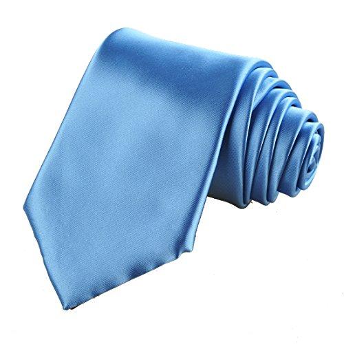 KissTies Blue Capri Necktie Set Solid Satin Tie + Pocket Square + Gift Box ()