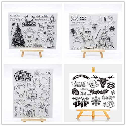me 4 Different Christmas Elk Rubber Clear Stamp for Card Making Decoration and Scrapbooking ()