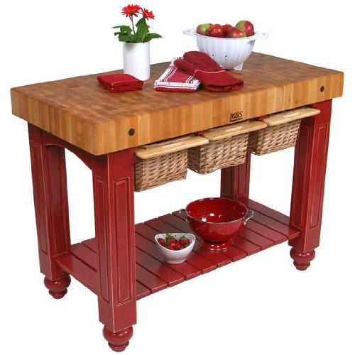 American Heritage Kitchen Island with Butcher Block Top Base Finish: Barn Red