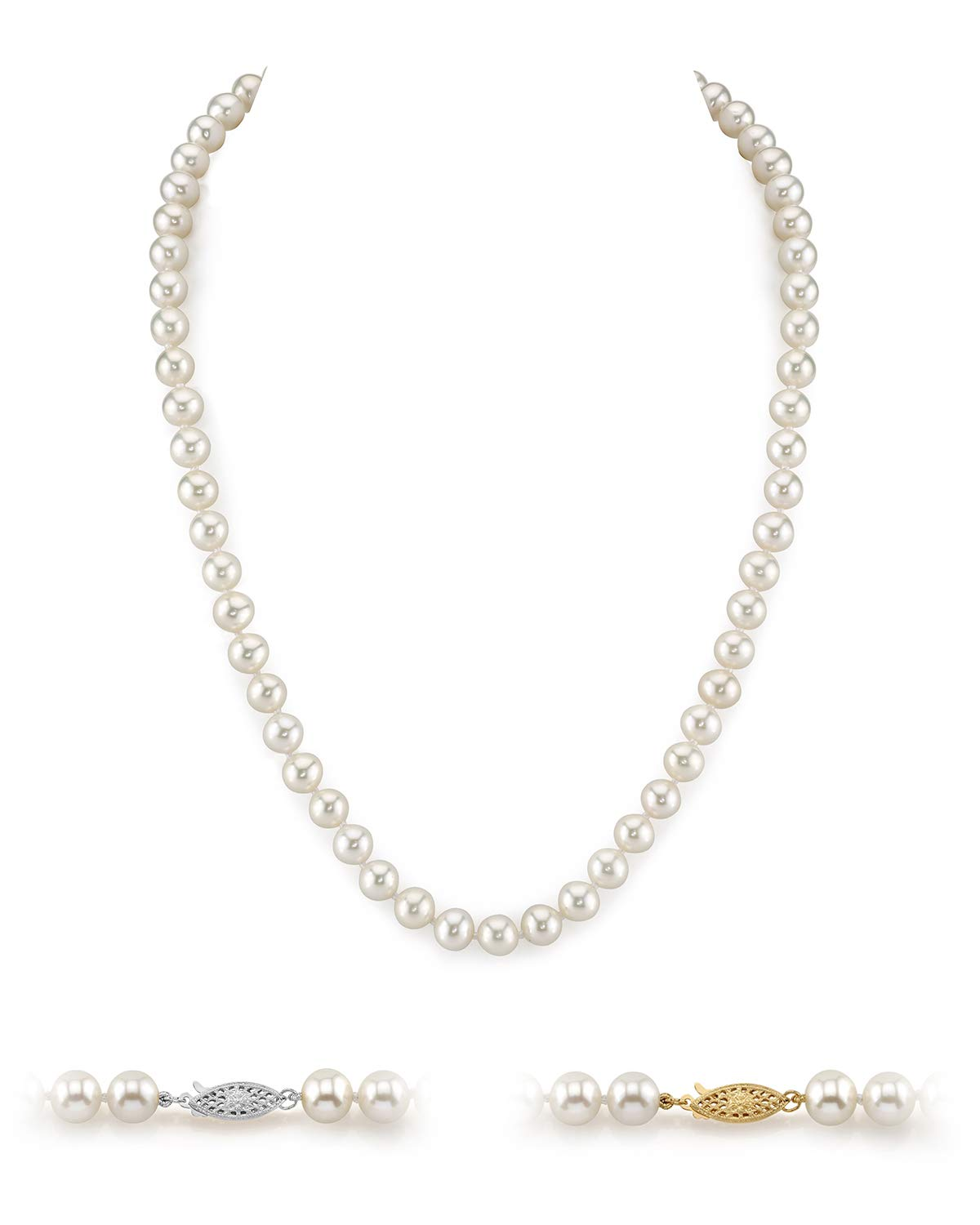 THE PEARL SOURCE 14K Gold 5.0-5.5mm AAAA Quality Round White Freshwater Cultured Pearl Necklace for Women 18'' Princess Length by The Pearl Source