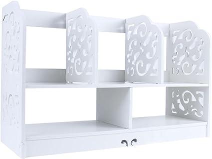 Estink - Cajonera de madera blanca perforada para escritorio, estantería de almacenamiento para libros, decoración del hogar, 35 x 21,5 x 60 cm, blanco: Amazon.es: Hogar