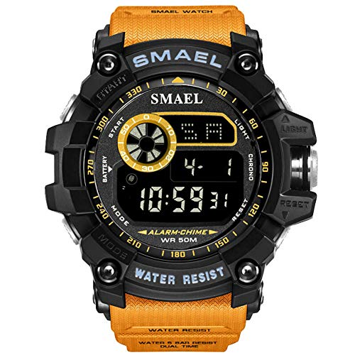 KXAITO Mens Digital LED Sports Watch Military Multifunction Dual Time Alarm Countdown Stopwatch 12H/24H Time Backlight 164FT 50M Water Resistant Calendar Month Date Day Watch (orange2) ()