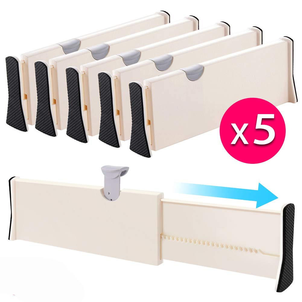 "Drawer Dividers Organizer 5 Pack, Adjustable Separators 4"" High Expandable from 11-17"" for Bedroom, Bathroom, Closet,Clothing, Office, Kitchen Storage, Strong Secure Hold, Foam Ends, Locks in Place"