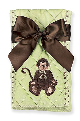 Bearington Baby Giggles Monkey Burp Cloth (Green), 14