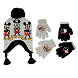 Disney Little Boys Mickey Mouse Hat and 2 Pair Gloves or Mittens Cold Weather Accessory Set, Ages 2-7 (Little Boys Age 4-7 Hat & 2 Pair Gloves Set, Grey)