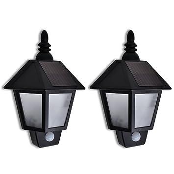 vidaXL 2x Lámpara de Pared de Jardín Solar Sensor de Movimiento de ABS Negro