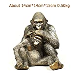 Mons Home Store Handmade Silverback Gorilla Statue Resin Father and Son Ape Sculpture Wild Animal Love Craft Decoration