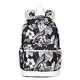 Joymoze Casual Lightweight Fashion Print Backpack Cute School Bag for Teen Black Flower