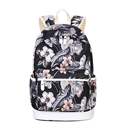 Joymoze Casual Lightweight Fashion Print Backpack Cute School Bag for Teen Black Flower 854