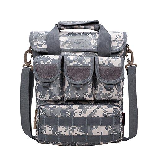 Yeshi portátil Casual al aire libre camuflaje táctico militar Crossbody Bolsa de hombro para Camping, Senderismo, Escalada, negro ACU Digital