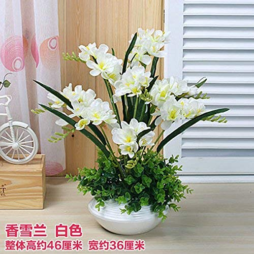 - Borijiche Living Room Placed Artificial Flower Plastic Tulip Ceramic Vase Kit, White (Color : As Shown, Size : One Size)